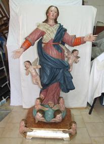 Statua Gesso Raffigurante Assunta, dopo del restauro
